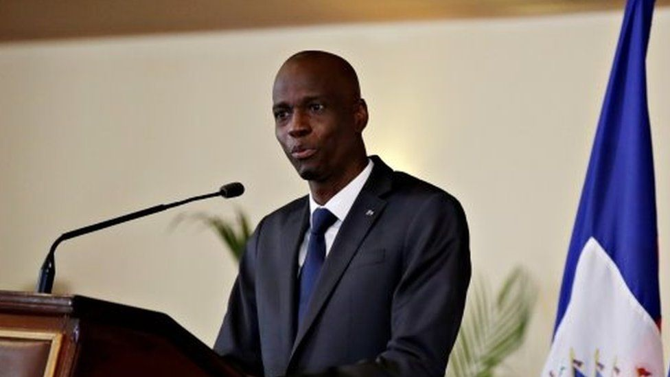 Jovenel Moïse speaks during the investiture ceremony of the independent advisory committee for the drafting of the new constitution at the National Palace in Port-au-Prince, Haiti October 30, 2020.