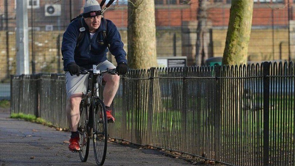 Boris Johnson cycling in 2013