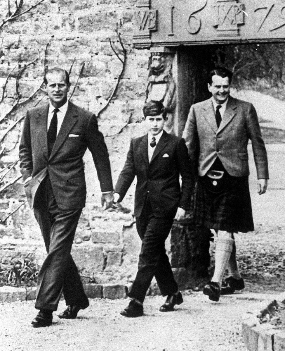 Prince Charles with his father the Duke of Edinburgh (left) and Captain Iain Tennant, Chairman of the Gordonstoun Board of Governors