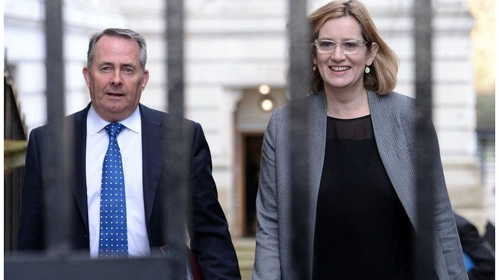 Liam Fox and Amber Rudd arriving for Tuesday's cabinet meeting
