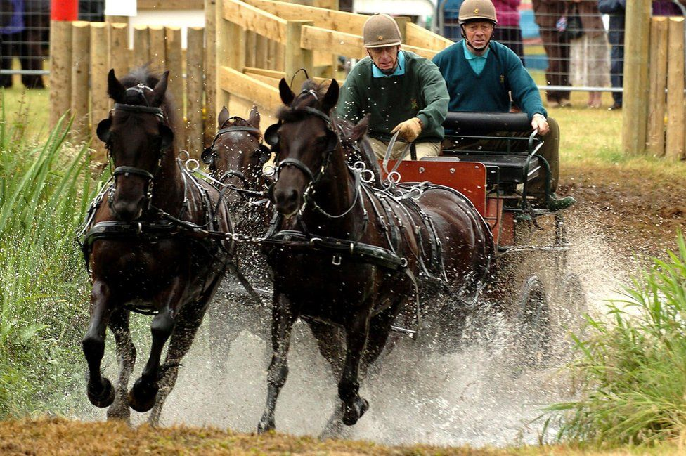 The Duke Edinburgh competes at the Sandringham Country show Horse Driving Trials held on the Norfolk Estate