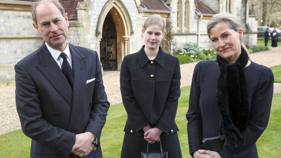 The Earl and Countess of Wessex attended the service with their daughter Lady Louise Windsor