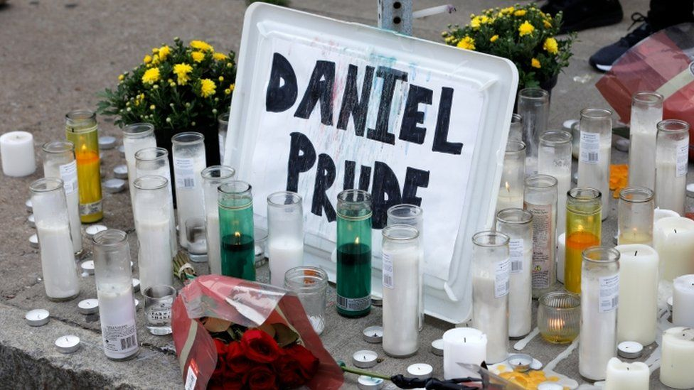 A view of a makeshift memorial on Jefferson Avenue following the death of a Black man, Daniel Prude