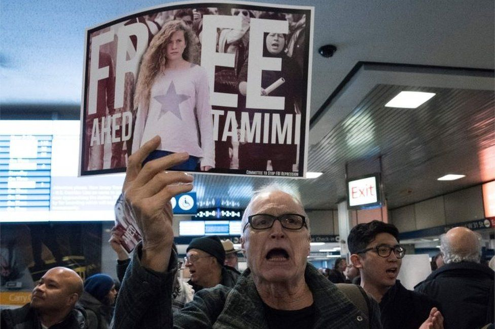 A rally in New York in support of Ahed Tamimi (30/01/18)