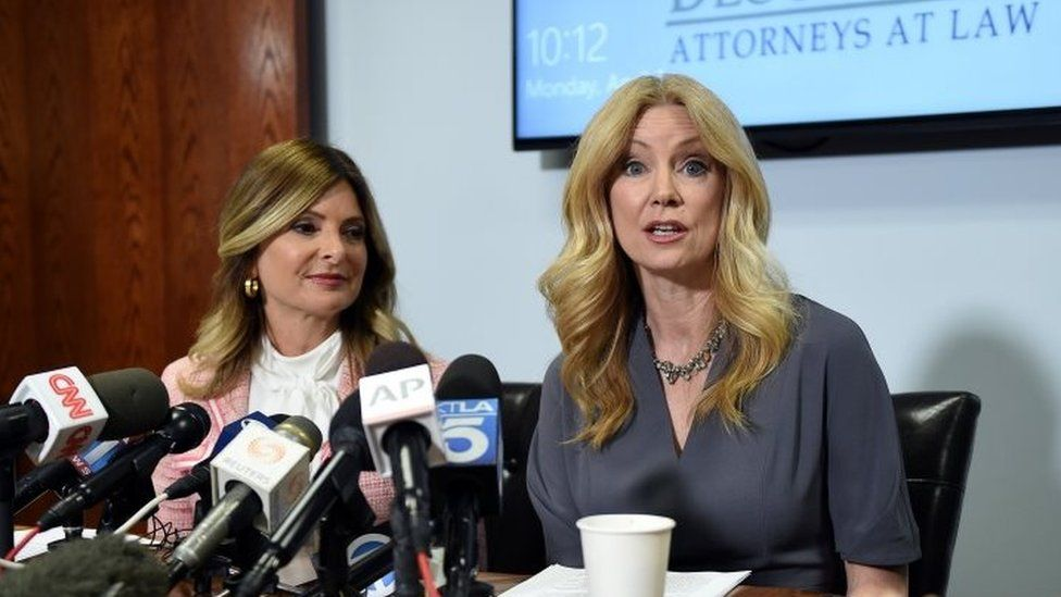 Radio and television personality Wendy Walsh (R) appears alongside her attorney, Lisa Bloom, in Los Angeles, California.