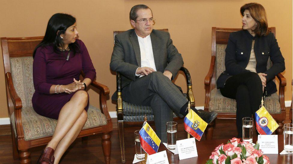 Delcy Rodriguez (left), Ricardo Patino and Maria Angela Holguin - 12 September 2015
