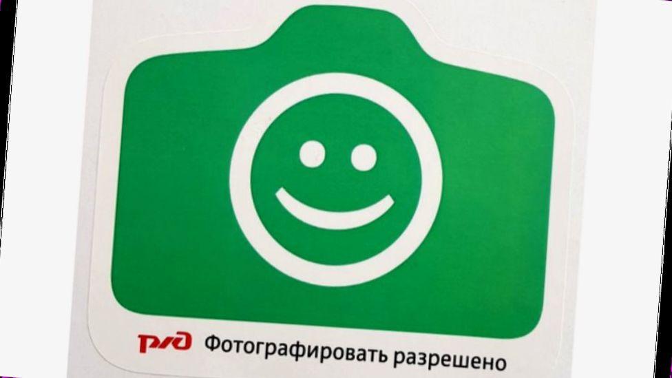 SignSticker marking good selfie spots on Moscow railway stations
