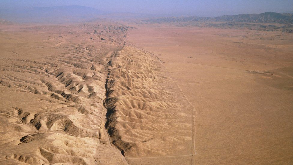 Aerial view of San Andreas Fault - a long rift in the desert
