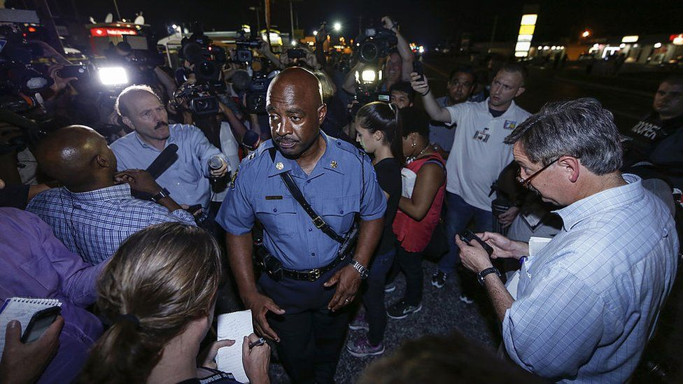 Captain Ron Johnson of the Missouri Highway Patrol speaks to media during a protest on August 18, 2014 for Michael Brown, who was killed by a police officer on August 9 in Ferguson, United States.