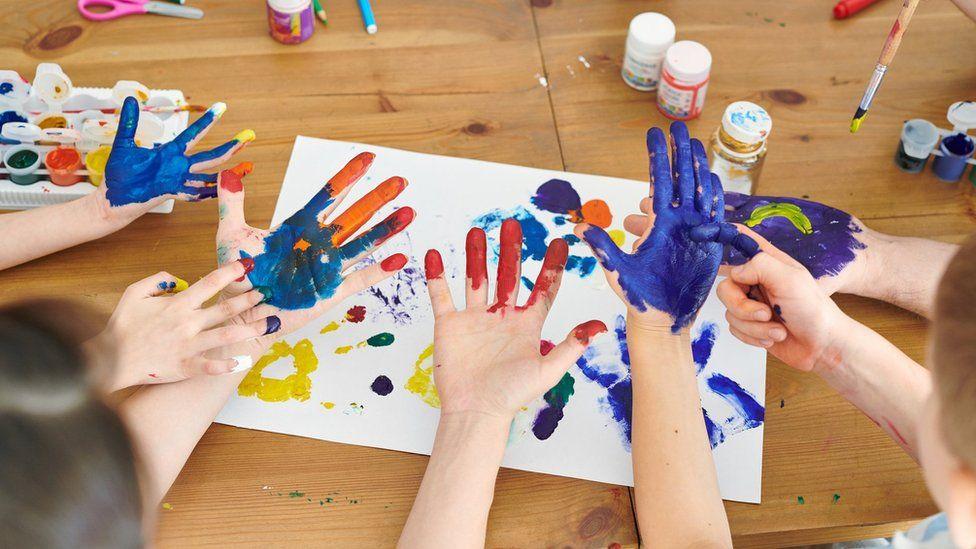 Children's painted hands