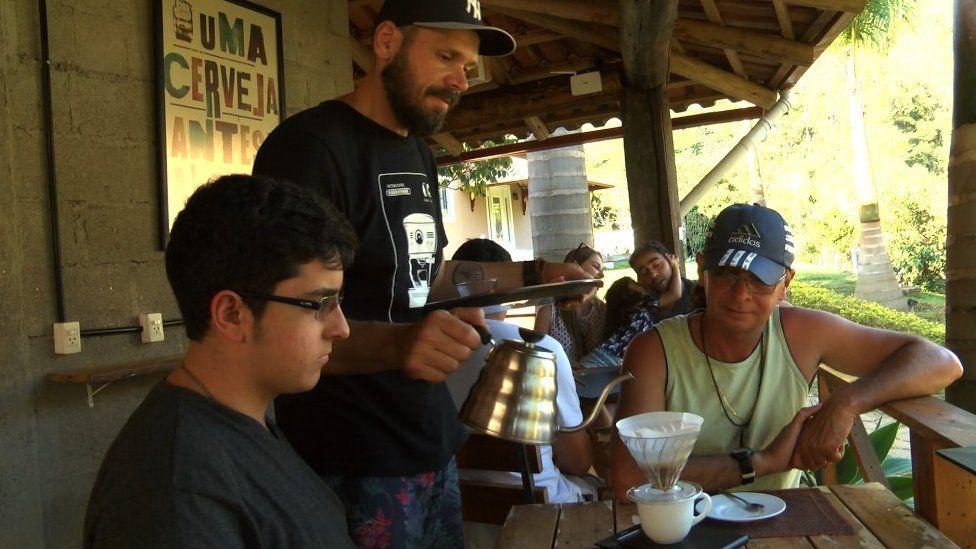A cafe on a coffee farm in Brazil