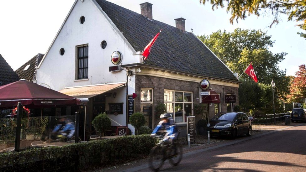 An exterior view of the local pub De Kastelein in the village of Ruinerwold, Drenthe, the Netherlands, 17 October 2019