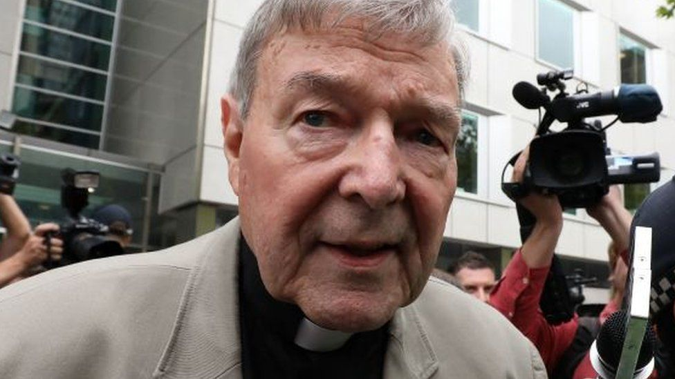 George Pell outside a court in Victoria