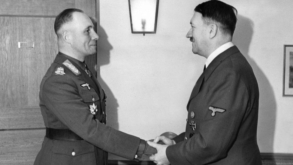 Erwin Rommel and Adolf Hitler