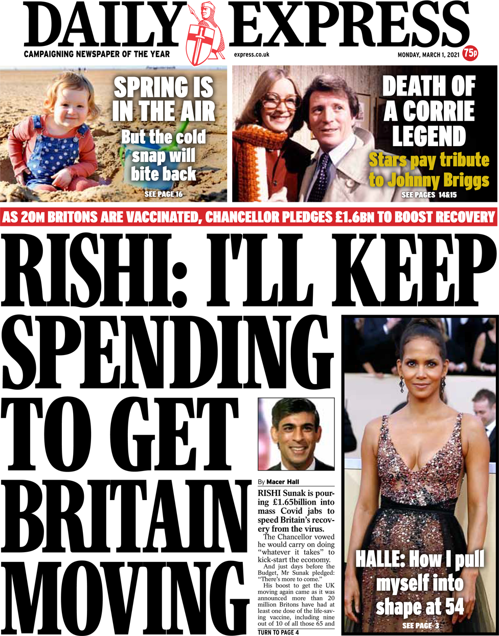 The Daily Express front page 1 March 2021