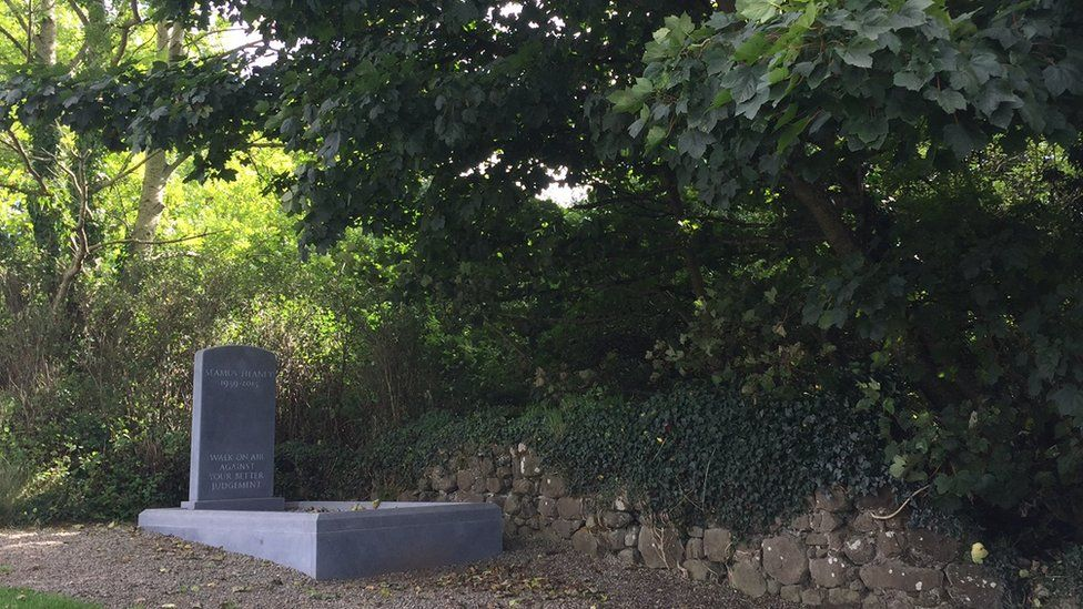 Seamus Heaney's memorial is located in a corner of the graveyard adjoining St Mary's parish church in Bellaghy