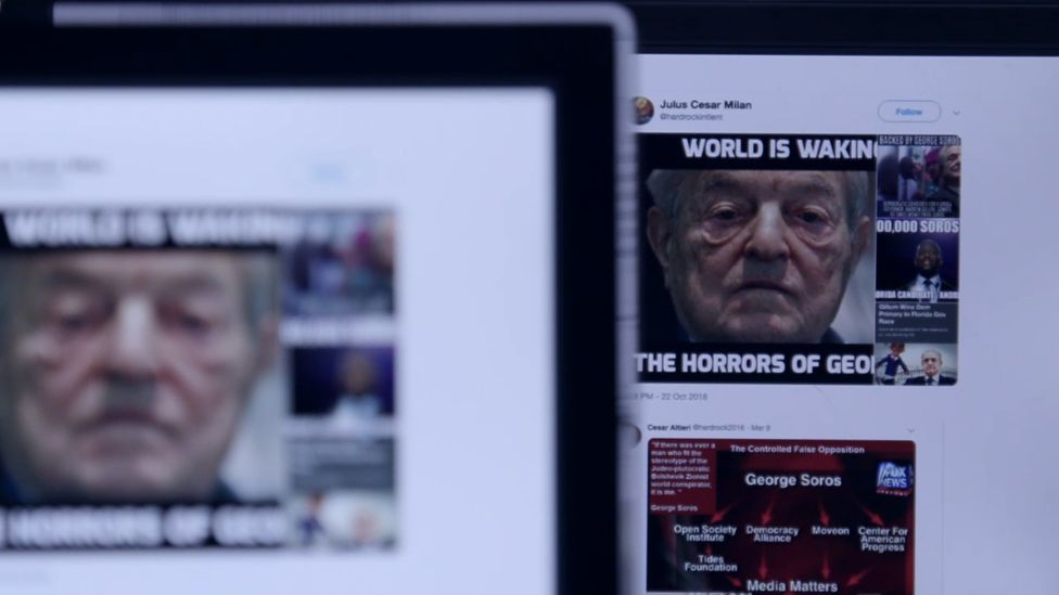 "Screen showing ""the world is waking up to the horrors of George Soros"" meme"