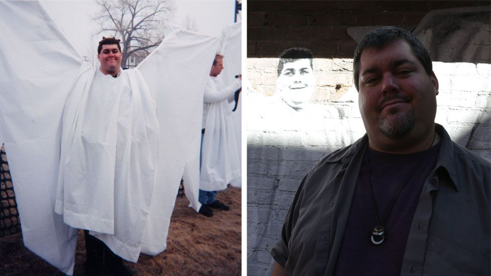 Jim Osborn at the original angel action protest and today at the mural that commemorates the counter-demo