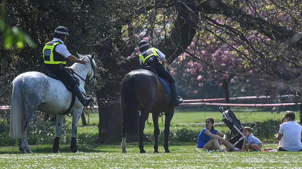 Police on horses speaking to people having a picnic
