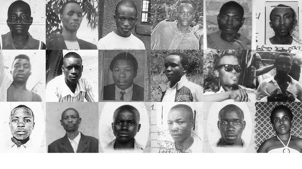 A composite image shows ID-card style photographs of 18 alleged victims.