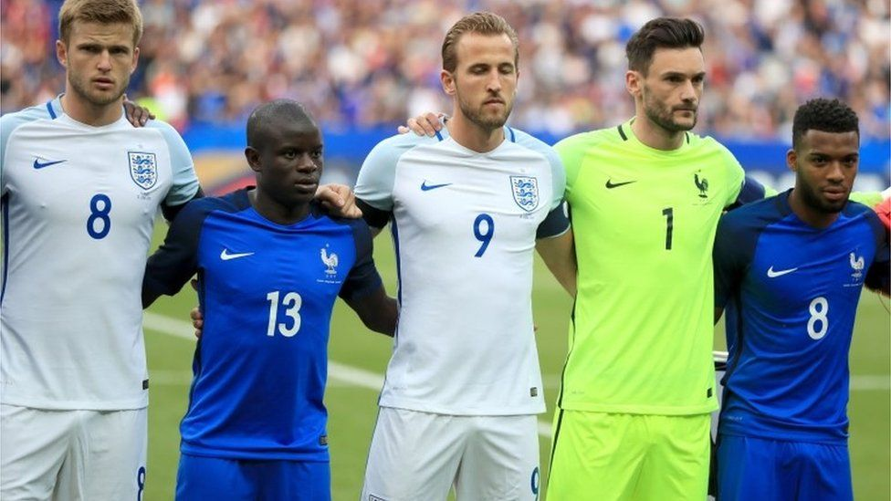 England and France players