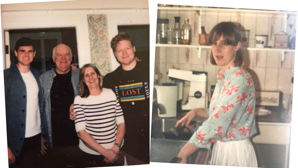 The Hayman family now and Anne Hayman in her 20s at home in Newport