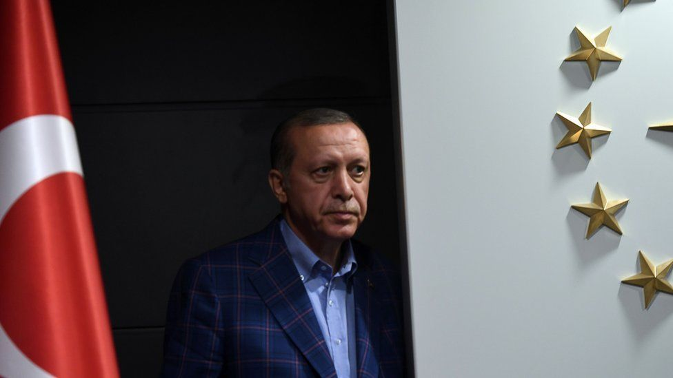 President Recep Tayyip Erdogan prepares to give a speech at AKP headquarters in Istanbul on 16 April