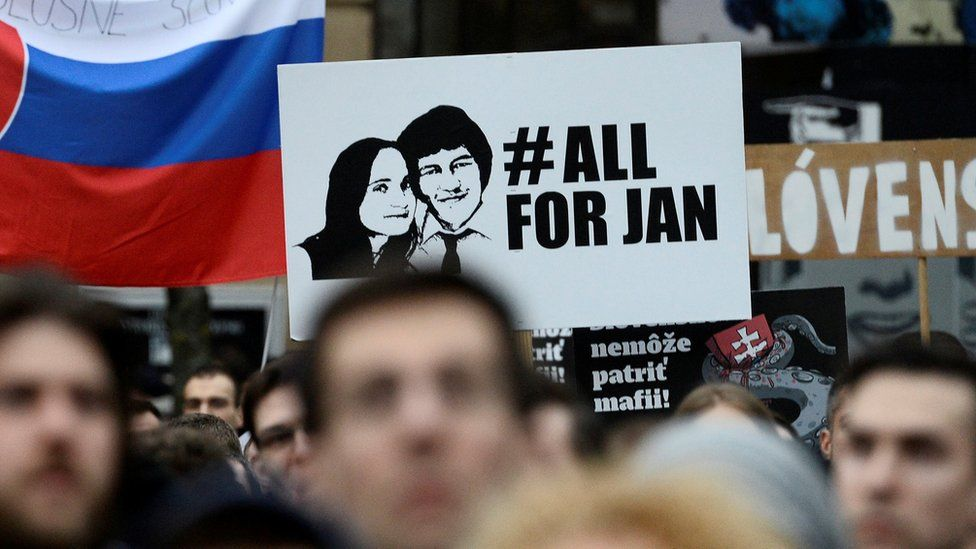 a demonstration after Kuciak's murder