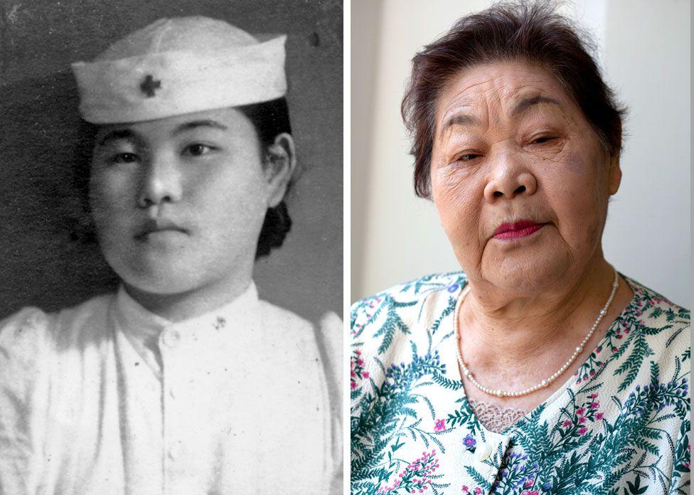 Två bilder, en visar Teruko Ueno som sjuksköterska som ung kvinna och den andra som äldre kvinna