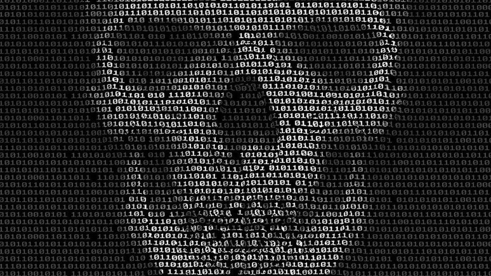 Skulls head image made from binary code