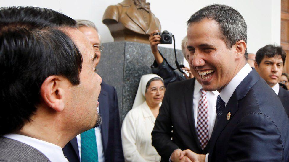 Juan Guaidó, right, meets EU representatives in Caracas, Venezuela February 19