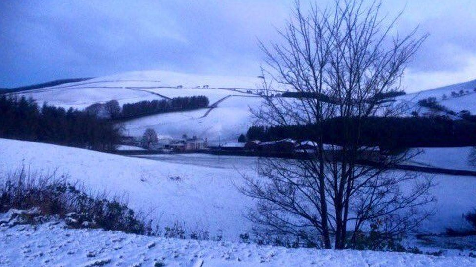 Snow has been falling across Wales, including in New Radnor, Powys