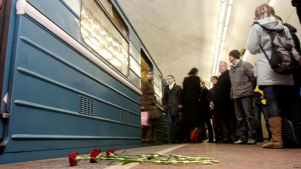 Flowers on train platform to commemorate victims of Lubyanka bombing