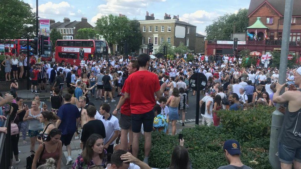 England fans in the streets, Brixton, London