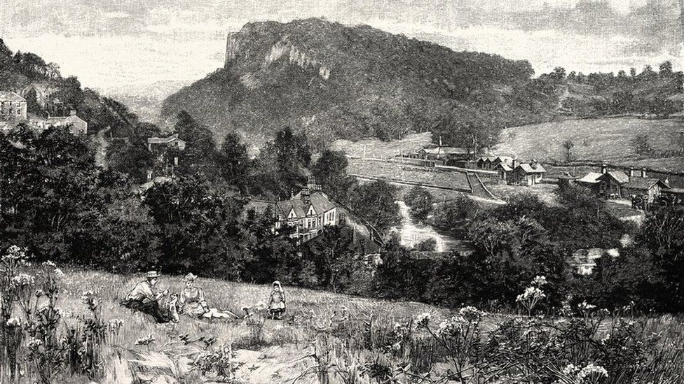 Drawing of Matlock Bath in the 19th Century