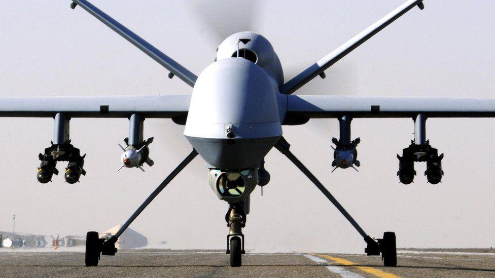 Undated UK MoD handout file photo of an RAF Reaper UAV drone