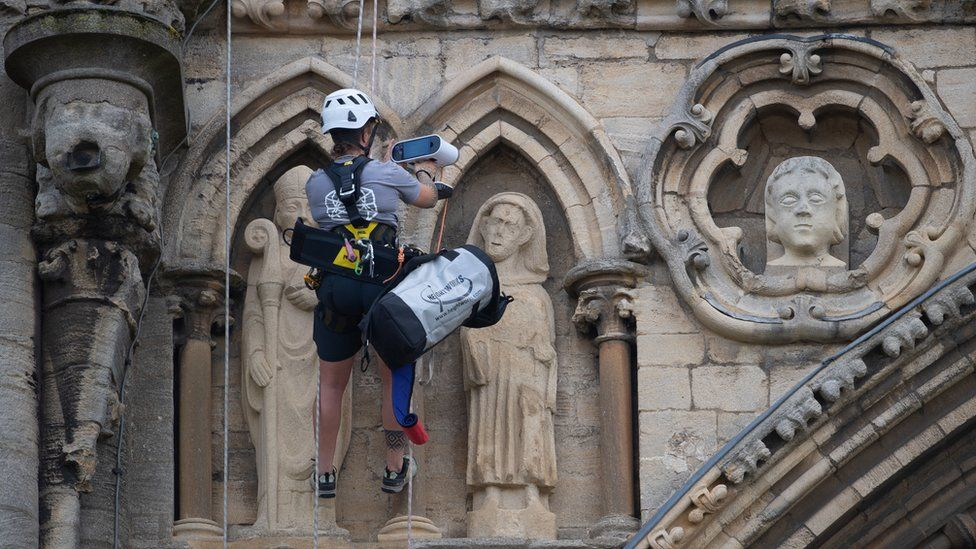 Conservationists abseil Peterborough Cathedral with scanners
