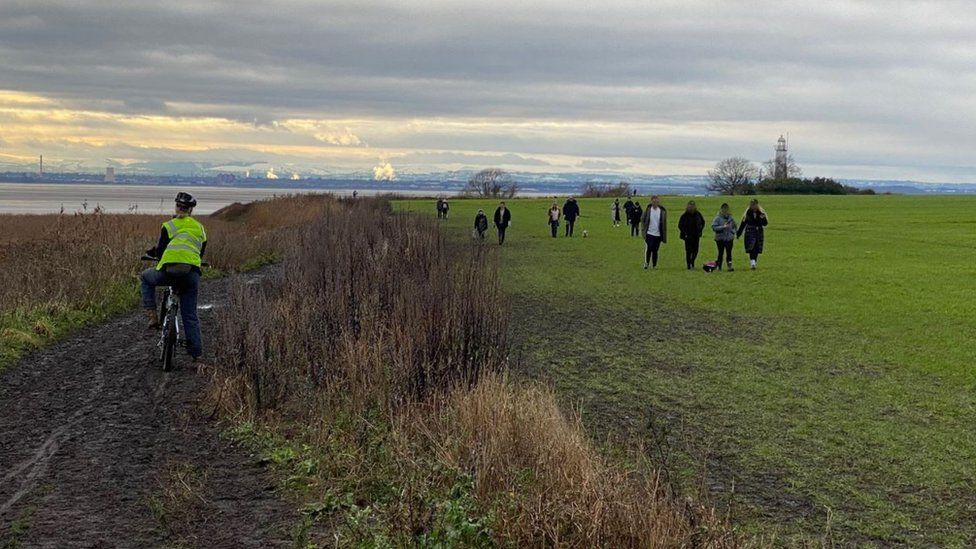 Walkers out in the countryside during lockdown in Merseyside