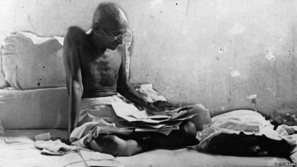 Mahatma Gandhi fasts in protest against British rule after his release from prison in Poona, India, in 1933