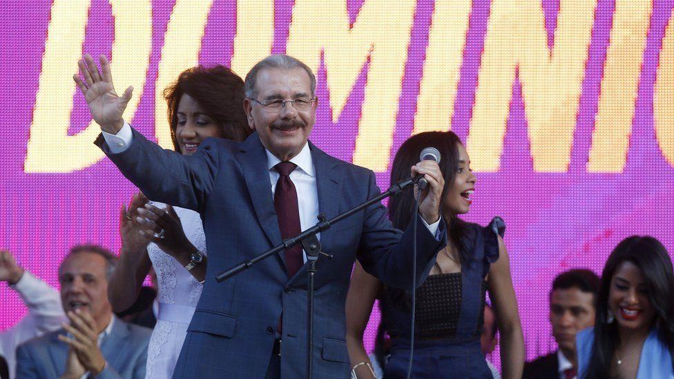 Dominican Republic President Danilo Medina gives a speech to his supporters in Santo Domingo, Dominican Republic, 16 May 2016