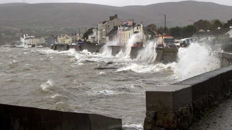 Waves crashing against a wall near the Warrenpoint to Rostrevor Road on Friday