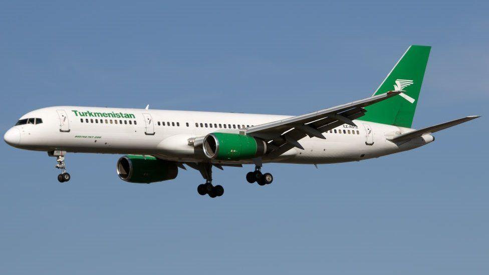 Turkmenistan Airlines Boeing 757-200 landing at London Heathrow airport