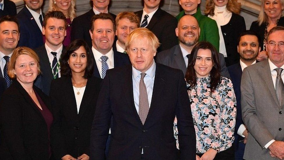 Boris Johnson pictured with the 109 new Conservative MPs
