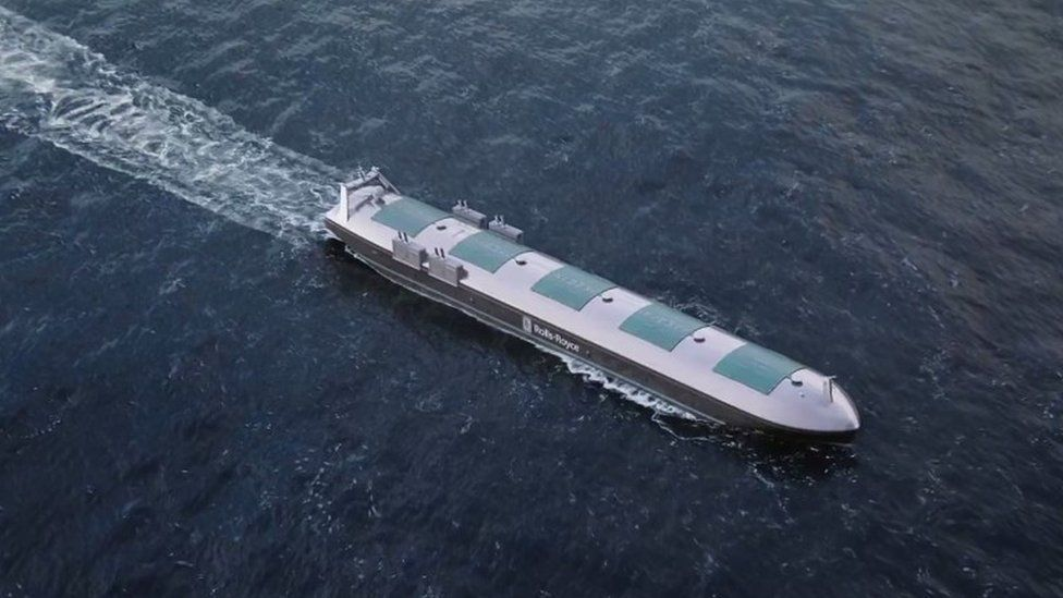 Still from video showing drone cargo ship graphic