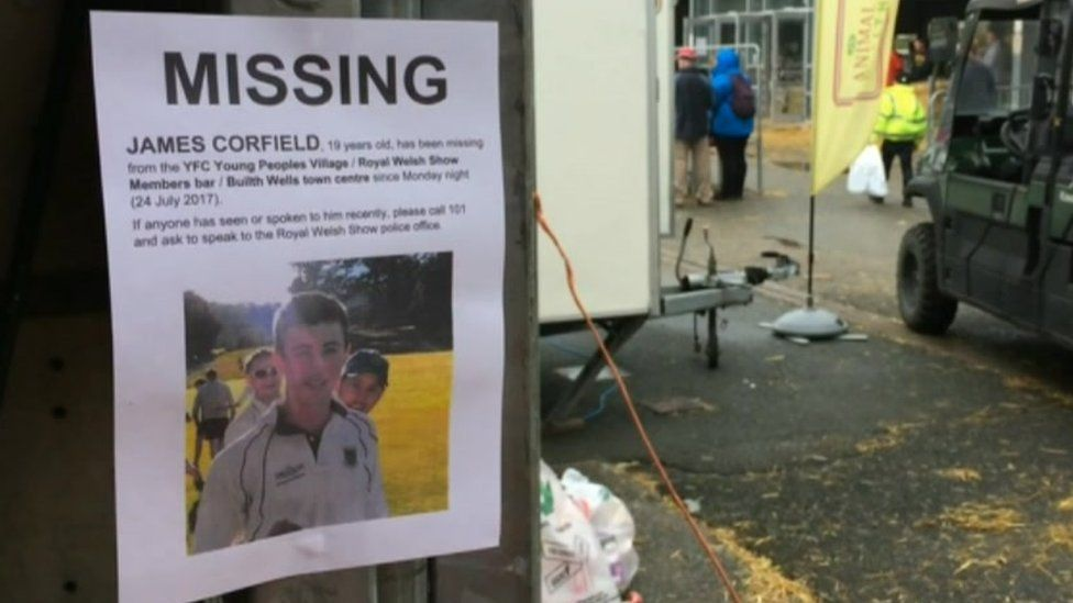 A James Corfield missing posters in Builth Wells
