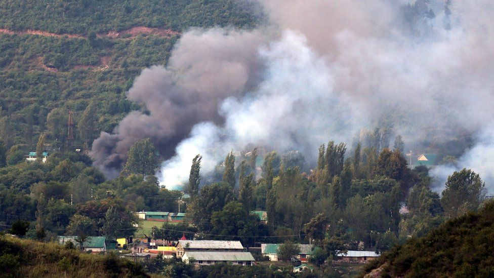 Smoke billows out from inside an Indian army base which was attacked by suspected militants in Uri. 18 September 2016.