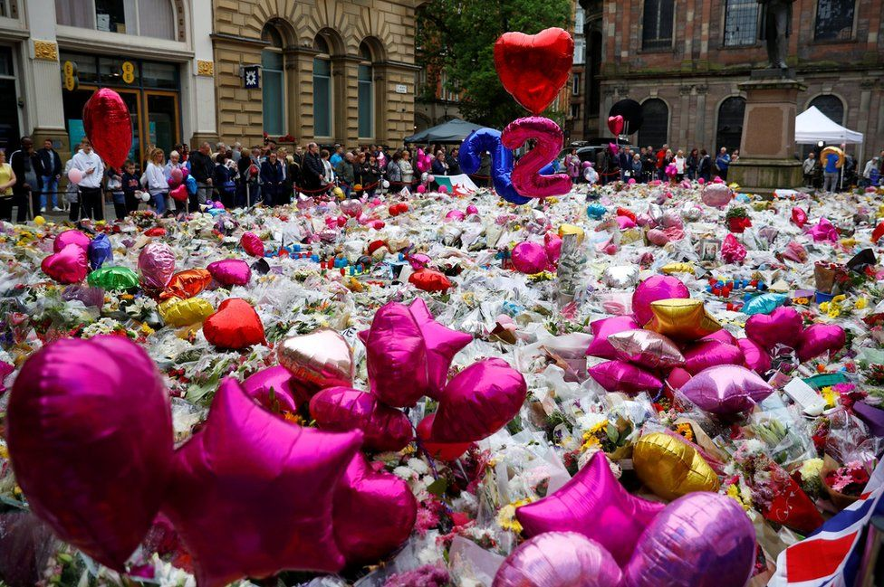 St Ann's Square fileld with tributes to Manchester Arena attack victims
