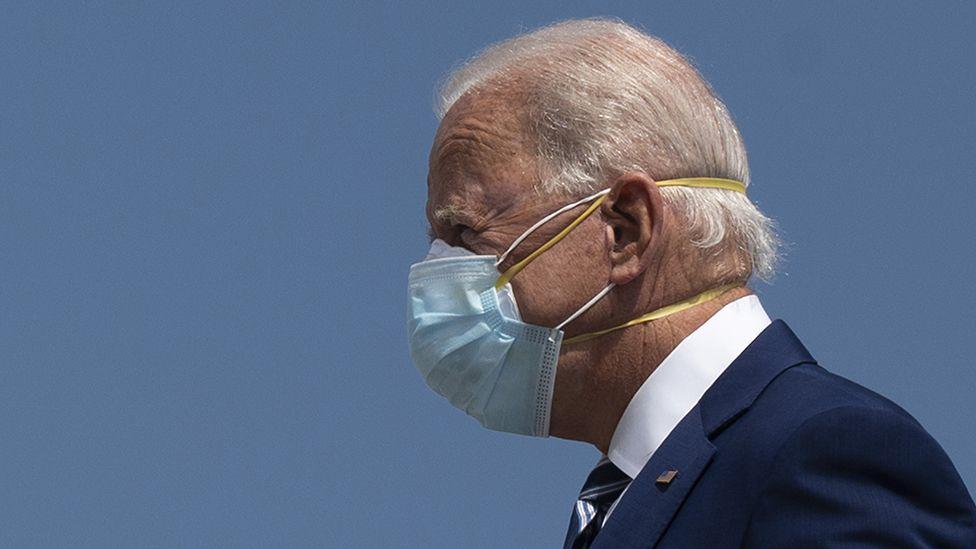 Joe Biden wearing two masks, October 2020