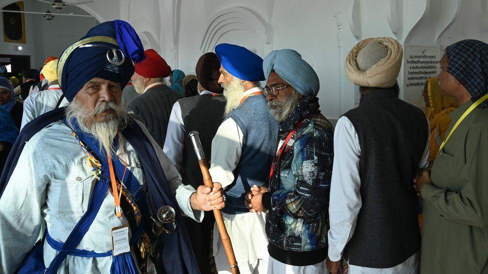 Sikh pilgrims visit the Shrine of Baba Guru Nanak Dev