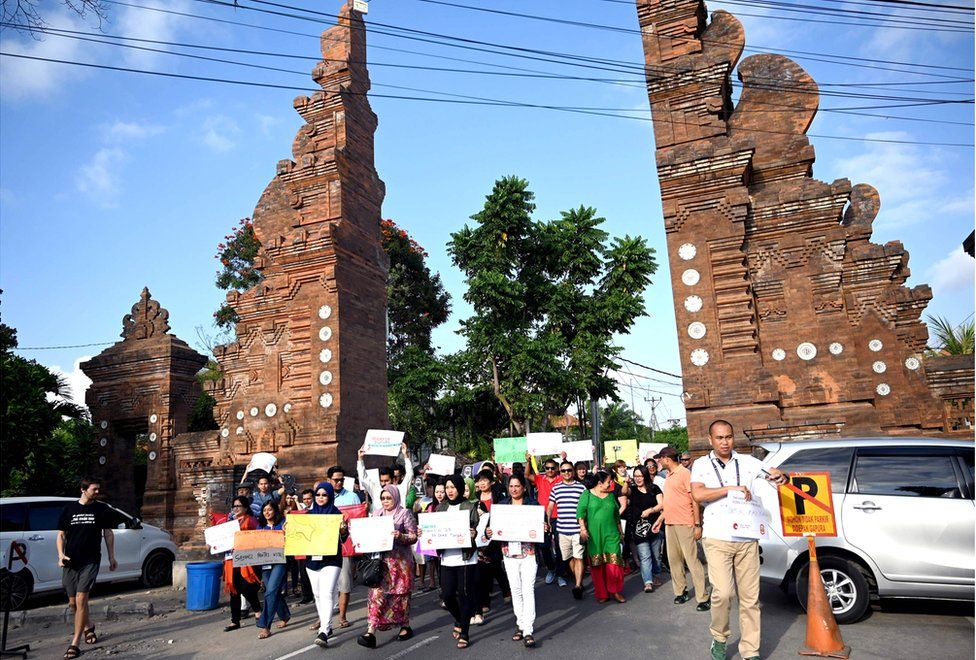 Protesters seen on the island of Bali